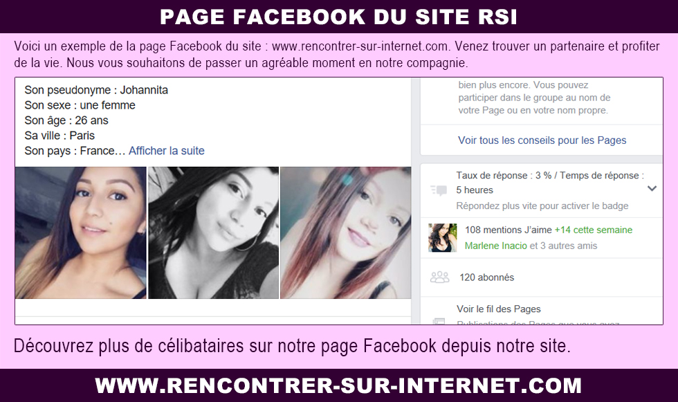 Page Facebook : notre site internet RSI